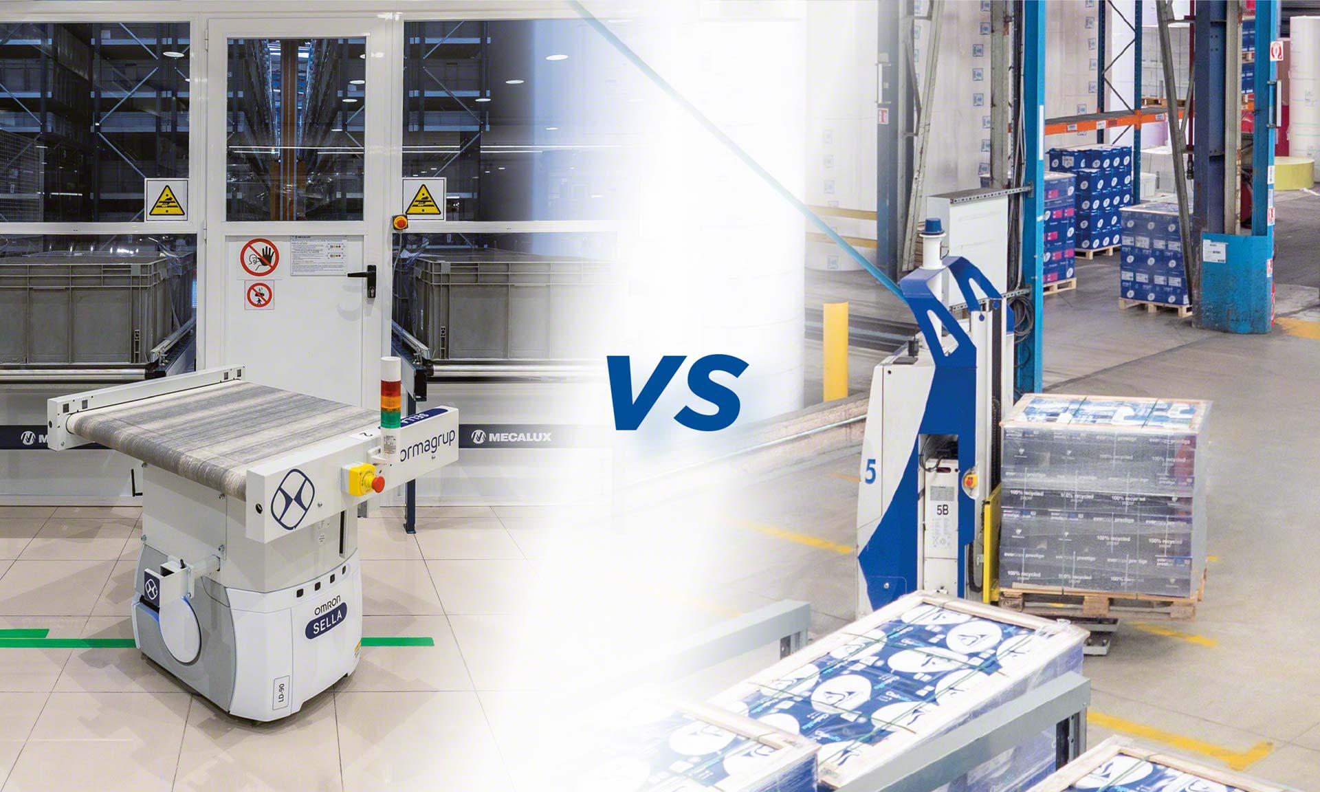 Les AGV et AMR sont des systèmes automatisés de transport de marchandises performants