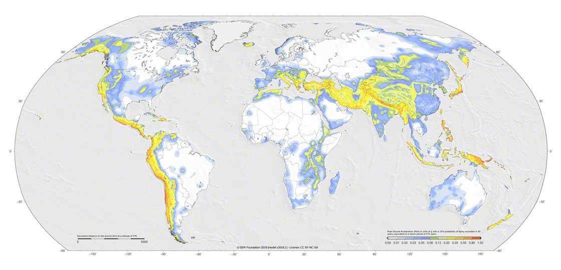 Les régions du monde les plus sujettes aux tremblements de terre. Source : Global Earthquake Model
