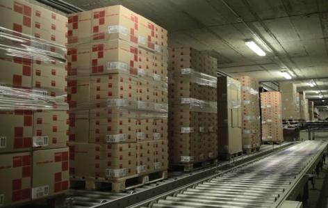 Flux continus de marchandises avec convoyeurs de palettes
