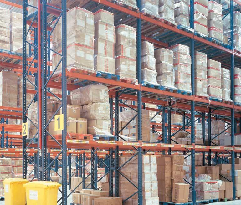Rayonnages à palettes pour le stockage de produits alimentaires