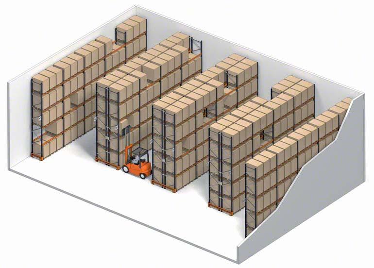 Système de stockage conventionnel avec accès direct aux palettes