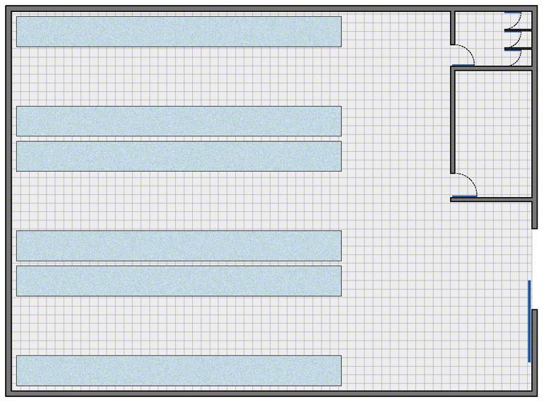 Entrepôt avec l'agencement le plus simple : zone de stockage, zone de gestion, vestiaires et toilettes pour le personnel.