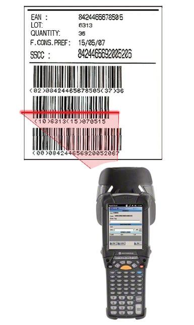Exemple d'une étiquette portant un code-barres EAN-128 permettant dans un centre logistique d'identifier la palette, le produit qu'elle contient et ses caractéristiques.