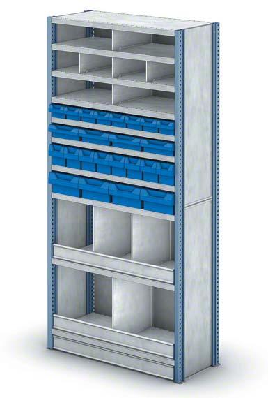 Rayonnage avec casiers de dimensions réduites