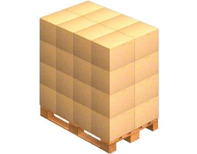 Une palette sur laquelle sont déposées les caisses d'emballage envoyées par le fournisseur. Ce dernier peut également livrer de la marchandise sur une palette (marchandise palettisée).