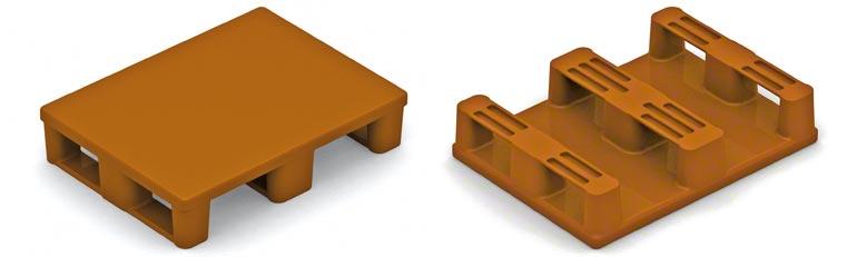 Voici une demi-palette en plastique. Ce type de palette impose les mêmes précautions que les demi-palettes en bois. La résistance des patins doit être contrôlée.