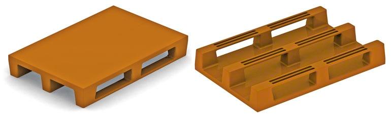 Ces palettes présentent la même structure que les palettes Europe en bois. En dehors de leur résistance qu'il faut vérifier, elles ne posent pas de problèmes.