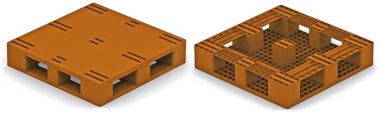 Ce modèle ressemble beaucoup à une palette en bois de type 2, avec patin périmétrique ; les restrictions sont les mêmes que pour les palettes de même type en bois.