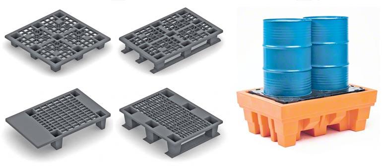 Différents modèles de palettes en plastique. Image cédée par Disset