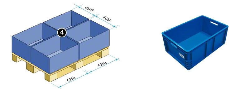 Bac de 600 x 400 mm (dont la surface équivaut au quart d'une palette norme europe - EPAL)