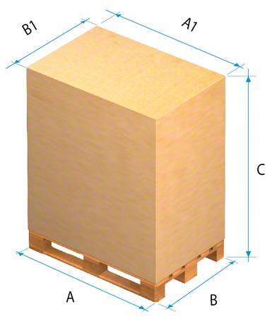 Dimensions à prendre en compte pour de la marchandise palettisée.