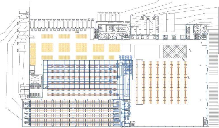 Schéma des différentes zones d'un entrepôt.