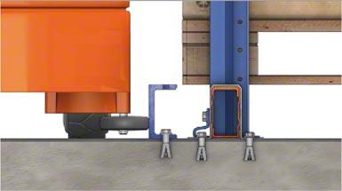 Les palettes reposent sur des profils posés sur le sol ou sur des lisses. Un profil en « U » ancré dans le sol sert de guidage.