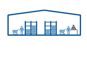 Tienda integrada en el almacén con picking realizado por el cliente