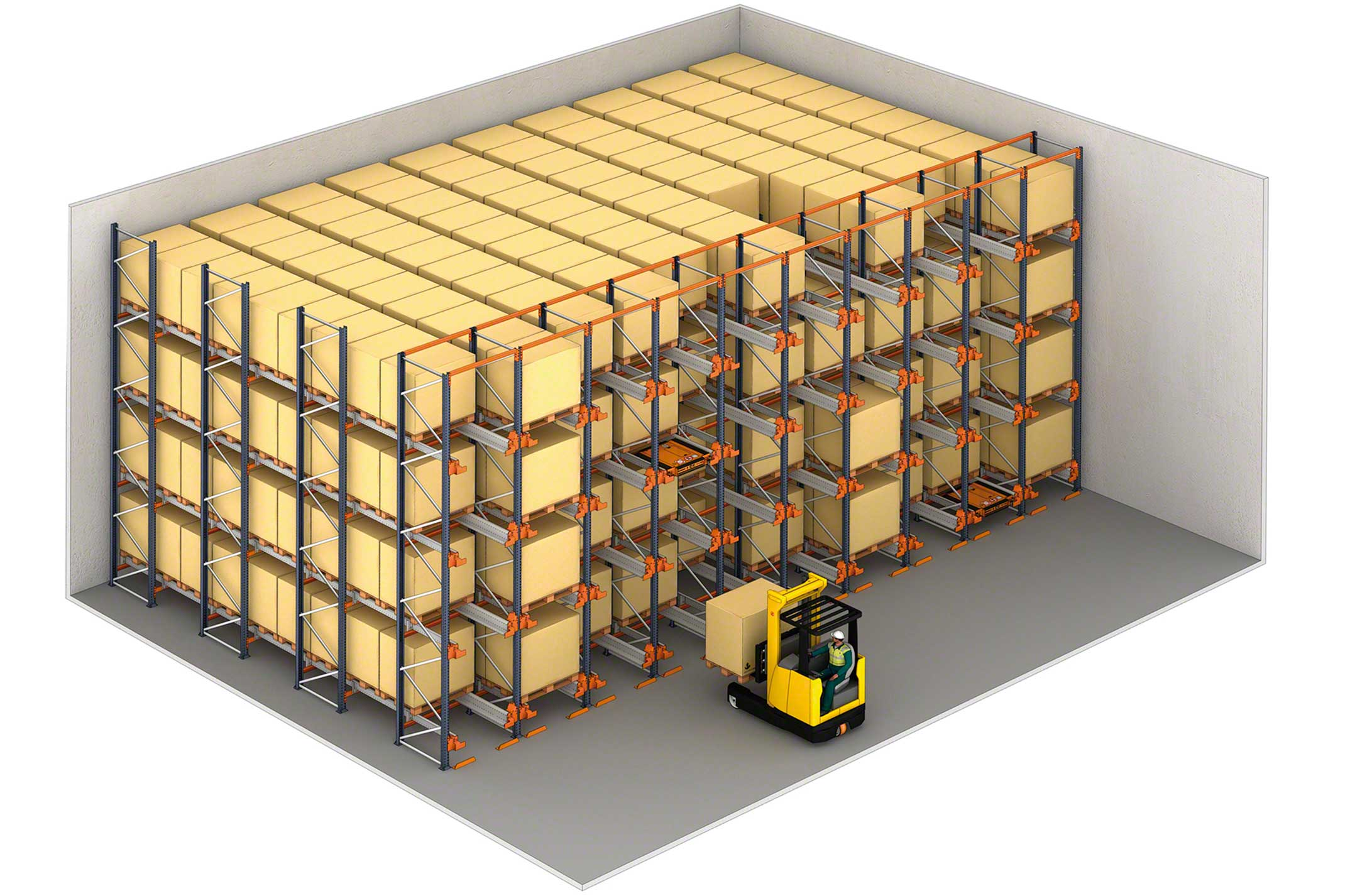 Exemple d'un entrepôt de stockage par accumulation avec Pallet Shuttle